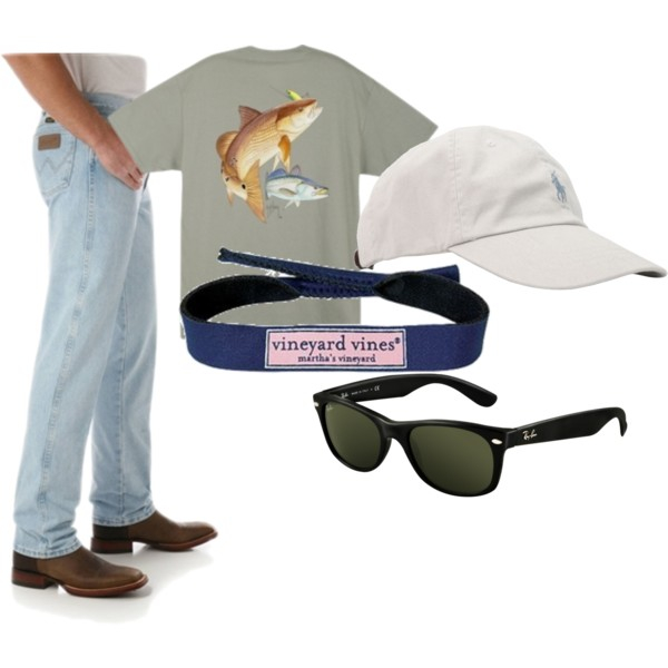 The perfect casual look for any southern beau, complete with a Guy Harvey T-Shirt, Polo hat, Vineyard Vines croakies, RayBan Wayfarers, and Wrangler jeans.