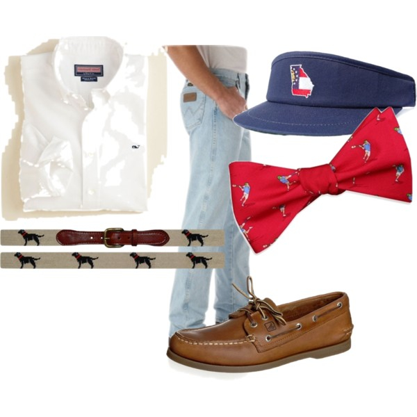 A game day look, complete with a Vineyard Vines button down, State Traditions  visor, Bird Dog Bay bowtie, Sperry Top-Sider shoes, and a SMathers and Branson belt.