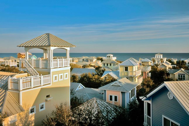 A view of the pastel houses of Seaside.