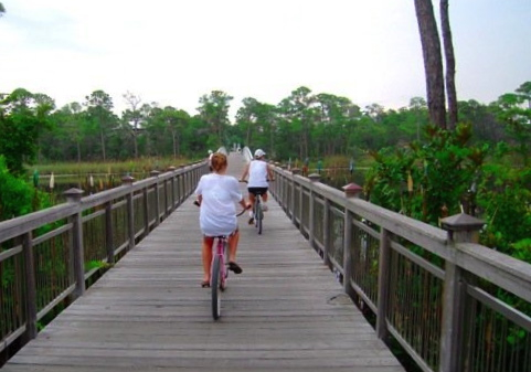 My mother and sister on an early-morning bike ride through Seaside.