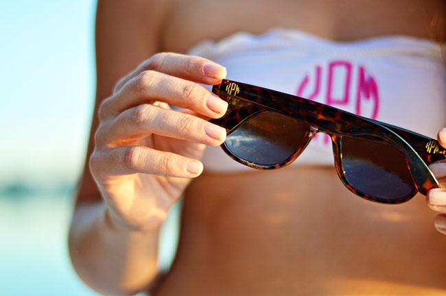 Rah Rah, Monogrammed Bandeau, Monogrammed Bikini, Sorority Girl, Summer, Cut Offs, Monogrammed Ray Bans, Pink Monogram, Monogrammed Swim Suit, Preppy Southern Blog