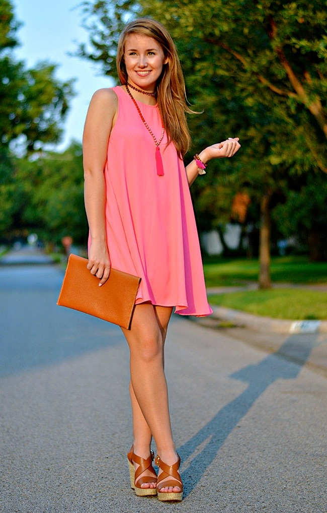 tassel necklace, pink tassel necklace, fall dresses, fall wardrobe, tassel trend, fall wedges