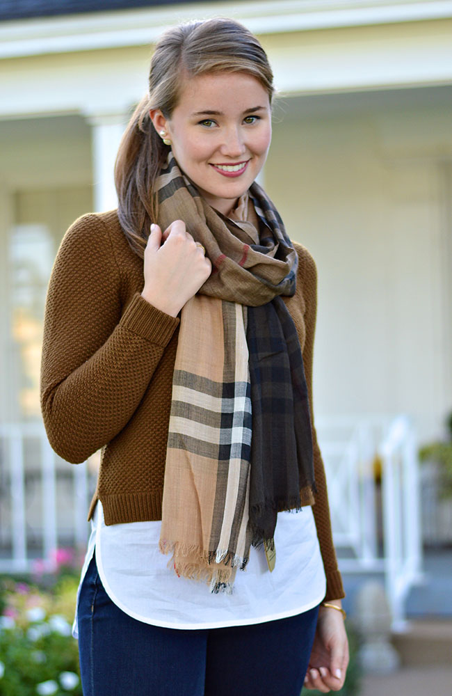 monogrammed jack rogers, ombre burberry scarf, burberry scarf, double pearl earrings, j.crew shirtail sweater