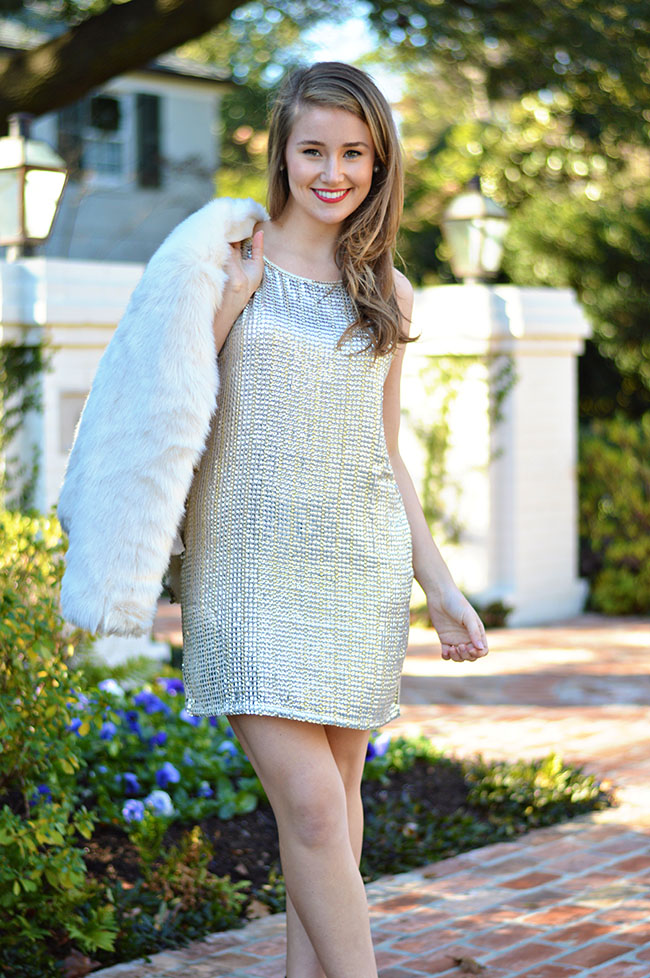 new years eve outfit, sequin dress, fur jacket, nude heels