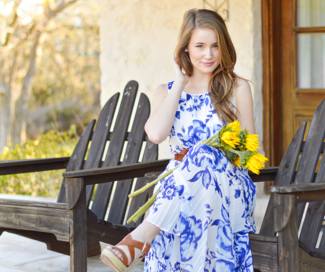 Floral Maxi Dress, Eliza J Dresses. Blue Maxi Dress, Southern Style, J.Crew Leather Belt, Pearl Ring, Kendra Scott Bangle, Gorjana Cross Over Cuff, College Girl Style, Sorority Girl Style