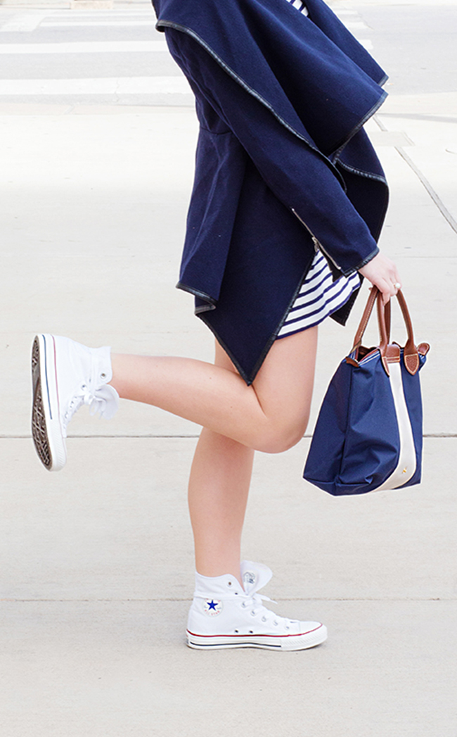 high top converse, striped dress, sheinside, custom longchamp, longchamp bag, monogrammed longchamp, high ponytail, navy and white stripes, french fashion, nars heatwave, tortoise raybans