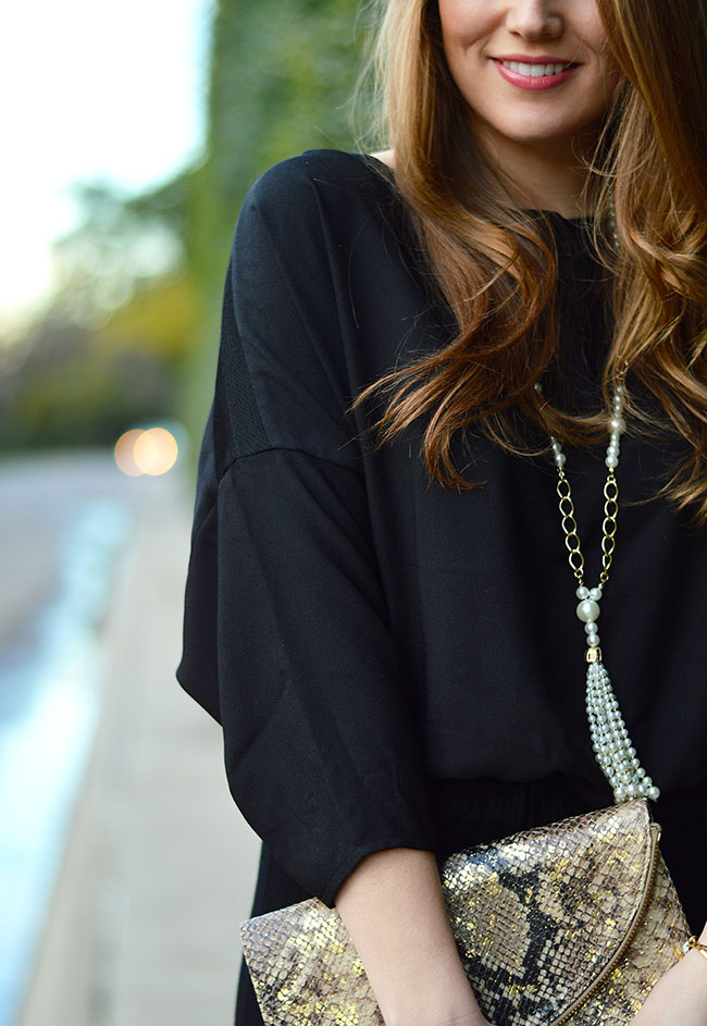 Elaine Turner, Gold, Snakeskin Clutch, Pearl Necklace, Black Jumpsuit, How To Wear A Jumpsuit
