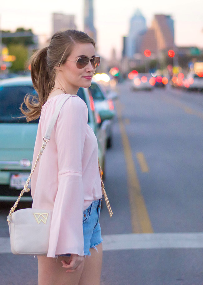 Kelly Wynne, Handbag, Mingle Mingle Mini, White Crossbody, Tory Burch, Wedges, Denim Cut Offs, Pony Tail, Austin, South Congress, Gold Tassel Bracelet, Michael Kors, Watch, Lexington, College Girl, Style, Sorority Girl, Southern Girl, University of Texas Blog