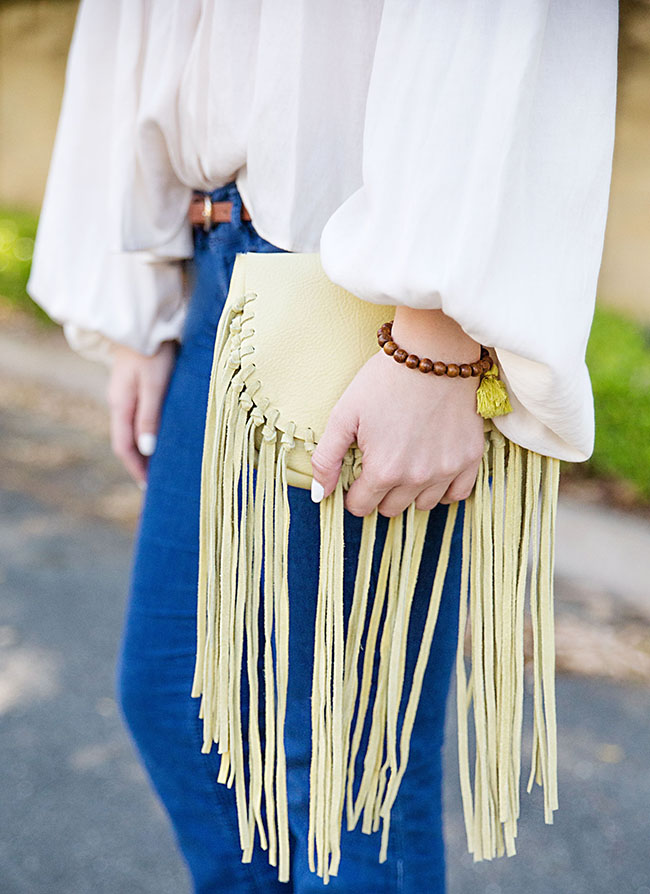 bell bottom jeans, fringe bag, fringe crossbody, fringe purse, peasant top, kendra scott, danielle earrings, turquoise earrings, southern girl, sorority girl, style, southern, sorority