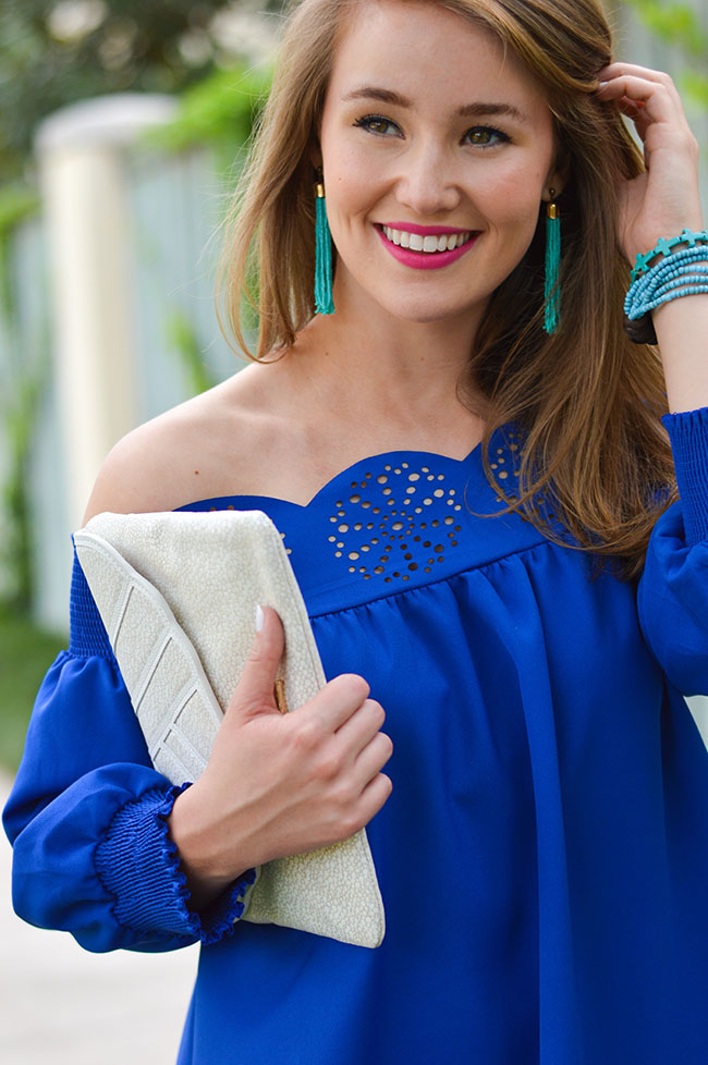 off the shoulder dress, scallop dress, scalloped dress, scallop off the shoulder dress, scalloped off the shoulder dress, blue dress, turquoise jewelry, turquoise tassel earrings, tassel earrings, white wedges, tory burch wedges, tory burch daisy wedges, sorority girl, texas girl, style, blog, fashion blogger, dallas, austin, texas