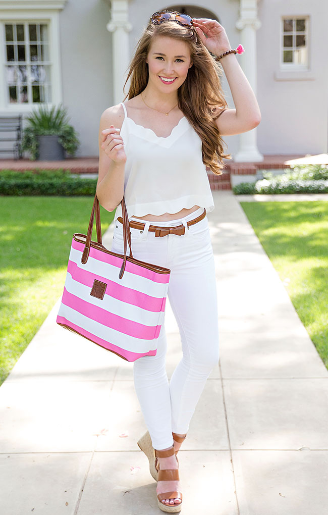 st. anne tote, barrington gifts, pink striped tote, scalloped top, scalloped crop top, ray bans, luxy hair extensions, michael kors wedges, posey wedges, bobbi brown mod pink, kendra scott necklace, decklyn necklace, sorority girl, sorority girl style, southern girl style, dallas blogger, austin blogger, texas blogger, college blogger, bow belt, summer tote