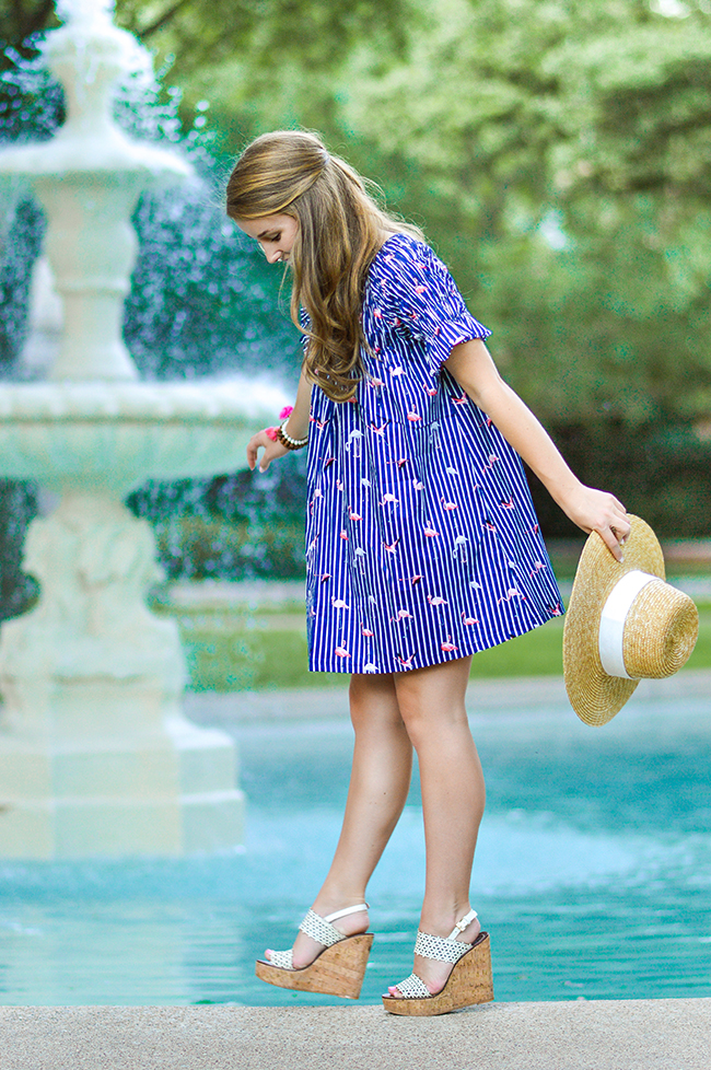 flamingo dress, j.crew beach hat, tory burch wedges