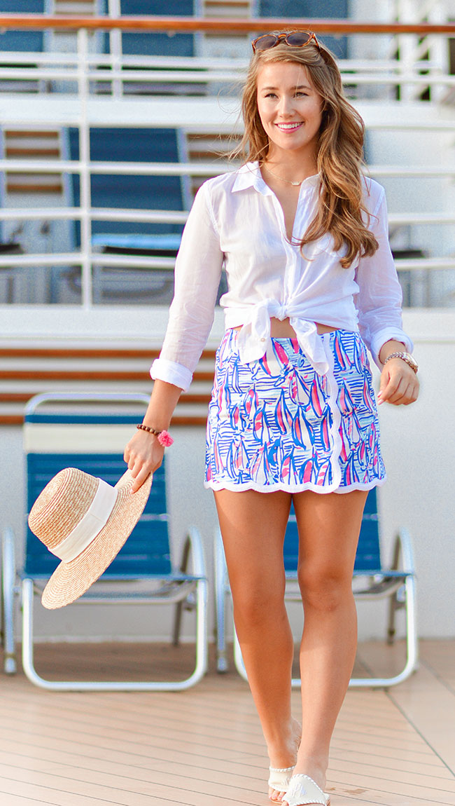 lilly pulitzer skort, summer in lilly, lilly pulitzer button down, monogrammed jack rogers, jack rogers, j.crew sun hat, joe fresh sunglasses, kendra scott elisa necklace, pom pom bracelet, southern style, royal caribbean, navigator of the seas, cruise outfit, sorority girl