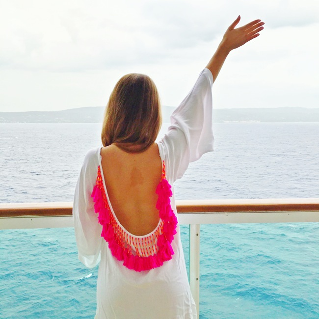 cruise style, what to wear on a cruise, cruise outfits, royal caribbean, navigator of the seas, prettiest cruises, sundress pink tassel