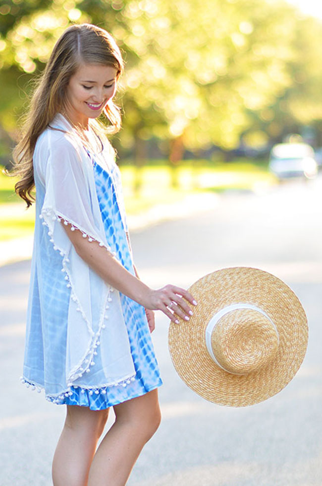 tie dye dress, asks tie dye dress, pom pom cover up, j.crew sunhat, kendra scott tassel necklace, tory burch wedges, southern preppy style, dallas blogger