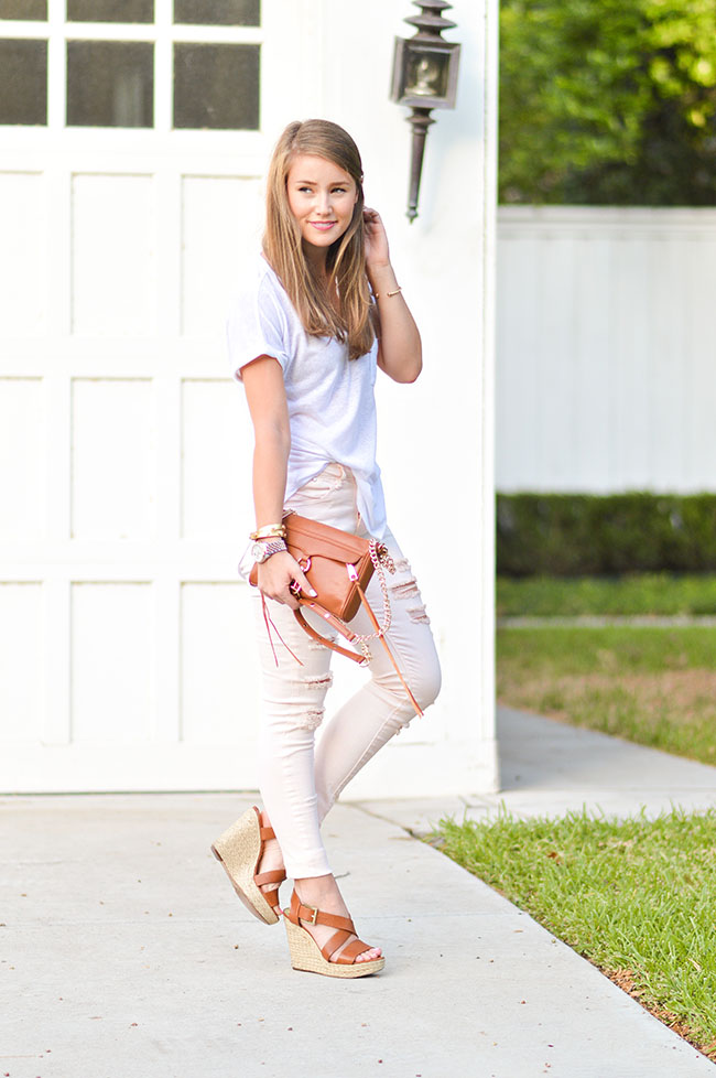 pink jeans, destroyed jeans, pink destroyed jeans, rebecca minkoff mini mac, brown purse, michael kors wedges, southern style, preppy style, college girl fashion