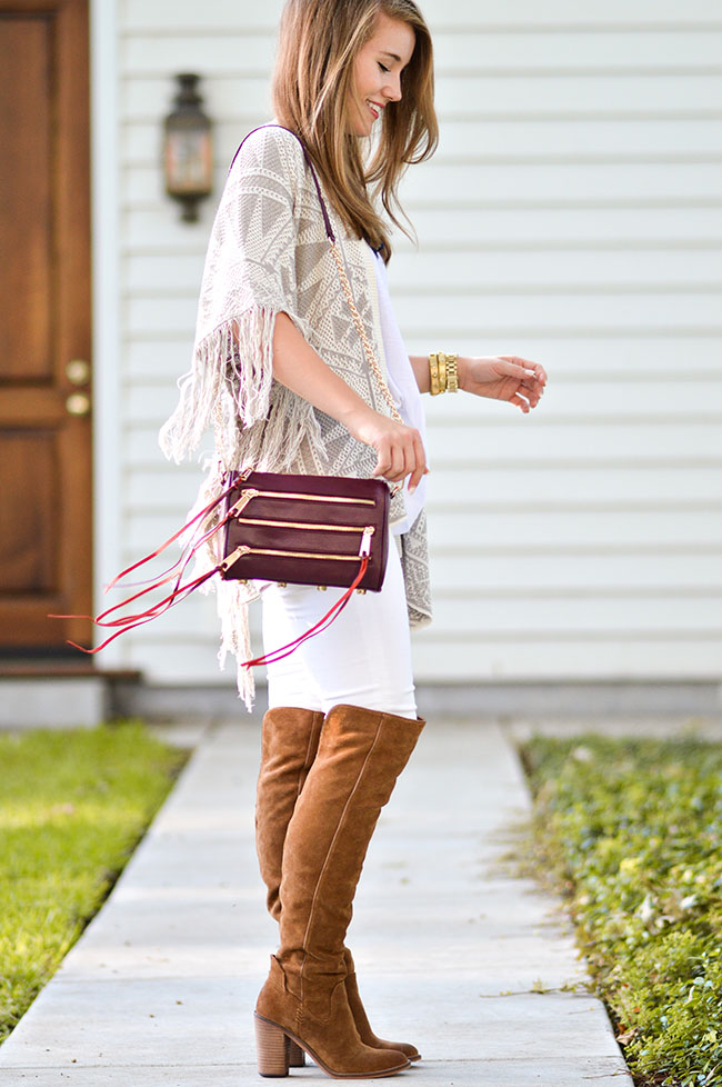 nordstrom anniversary sale, tory burch wrap bracelet, michael kors watch, over the knee boots, dolce vita boots, dolce vita over the knee boots, white jeans and boots, summer sweater, oxblood bag, rebecca minkoff oxblood bag, southern style, fall style, preppy girl, college blogger