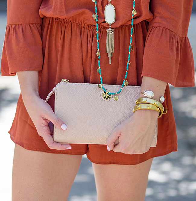 burnt orange romper, turquoise necklace, kendra scott rane necklace, robinson crossbody, tory burch clutch, blush clutch, tory burch sandals, tory burch wrap bracelet, university of texas football game, style, football game style, what to wear to a football game