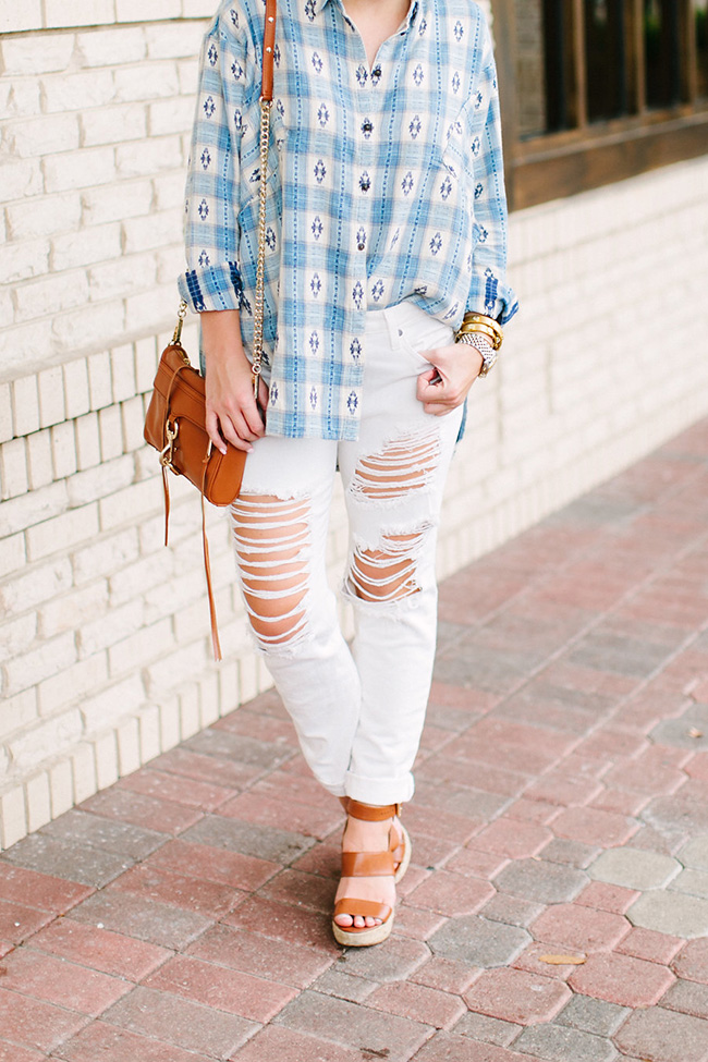 oversized button down, aztec flannel, ripped white jeans, rebecca mink off cross body