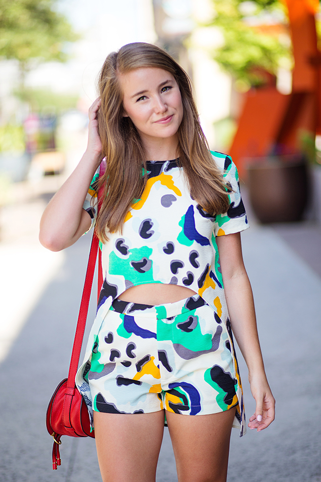 teen vogue back to school, matching shorts and shirt, coordinates, chloé marcie small cross body, red chloé marcie crossbody, stewart weitzman the nudist heels, dallas fashion blogger, austin fashion blogger, college girl blog, sorority girl blog