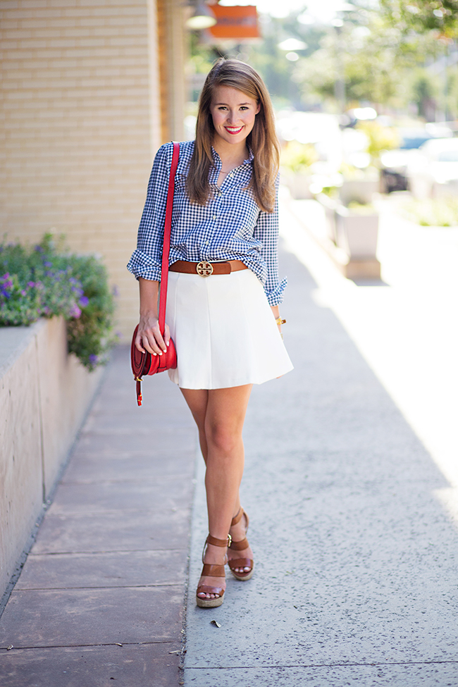 navy gingham shirt, white mini skirt, tory burch belt, chloé marcie crossbody, marcie red crossbody, red chloé bag, red lipstick, southern girl style, sorority girl, texas girl, preppy style