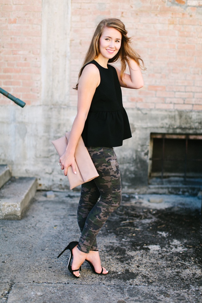 camo jeans, peplum top, peplum, black peplum top, stuart weitzman nudist heels, southern girl, preppy girl, southern style, preppy style, dallas blogger, preppy fashion blog, southern fashion blog
