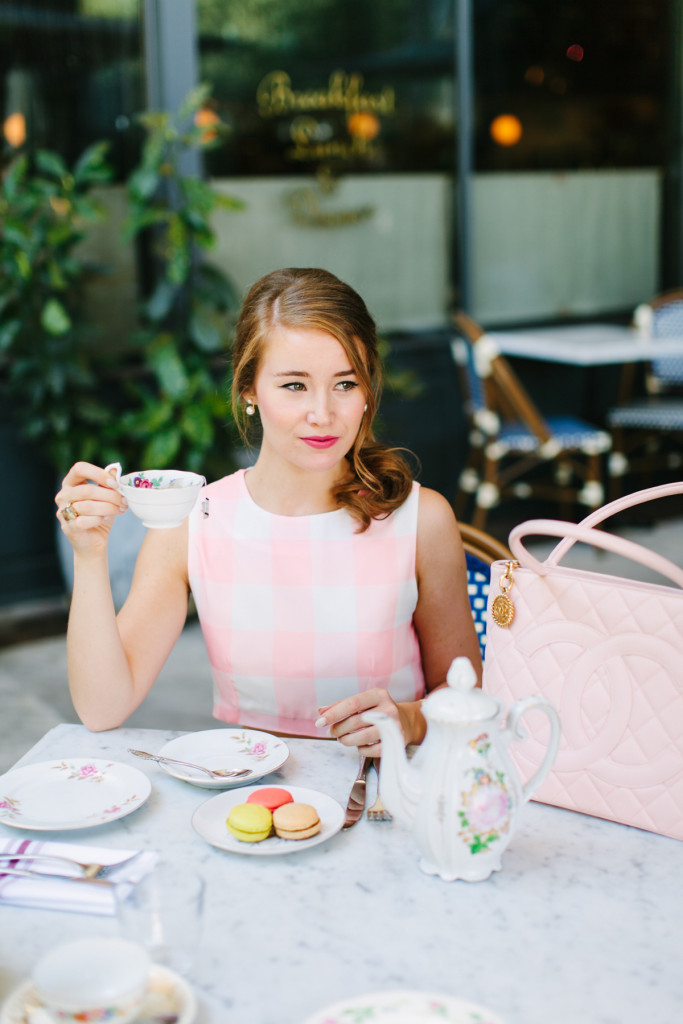 paris girl cafe, paris cafe, paris girl, paris style, matching set, pink matching set, pink gingham, chanel medallion tote, caviar medallion tote, pearl earrings, mercat bistro, mercat bistro dallas, lk bennett pumps, paris sidewalk cafe