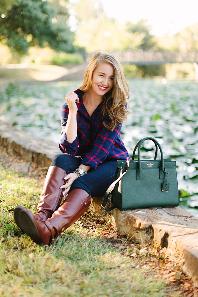 j.crew, j.crew button down. j.crew women flannel, j.crew women button down, tory burch boots, tory burch riding boots, tory burch derby boots, kate spade purse, green kate spade purse, kate spade cameron street satchel, southern style, preppy style, southern girl, preppy girl, preppy fall style, preppy fall fashion, dallas blogger, southern blogger