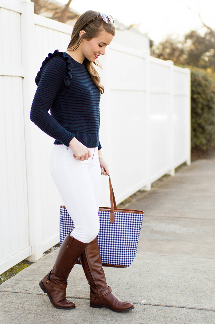 gingham tote, ruffle sweater