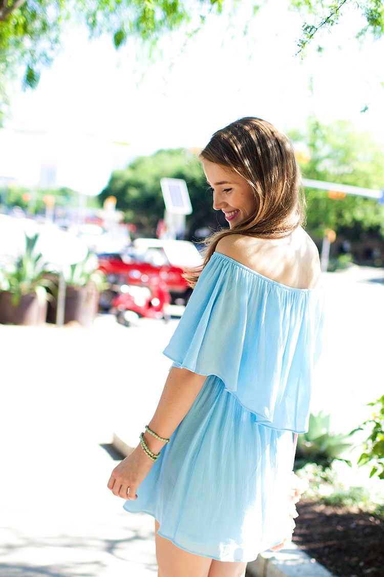 blue off the shoulder dress, off the shoulder dress, everly dress