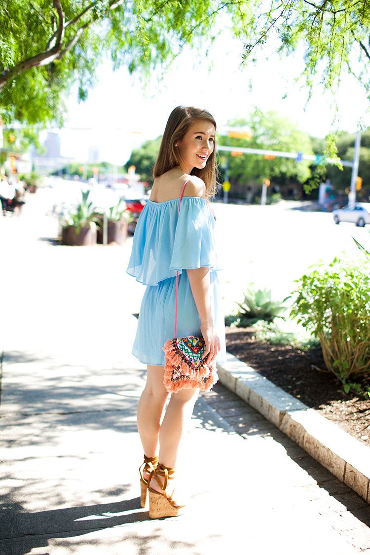 blue off the shoulder dress, everly dress, off the shoulder dress, m.gemi, m.gemi wedges, cork wedges, tassel bag, tassel crossbody, embroidered crossbody, sashi tatiana bag, south congress avenue, austin texas