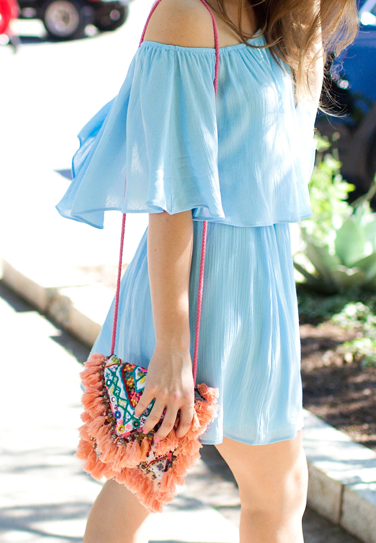 blue off the shoulder dress, everly dress, off the shoulder dress, tassel bag, tassel crossbody, embroidered crossbody, sashi tatiana bag, south congress avenue, austin texas