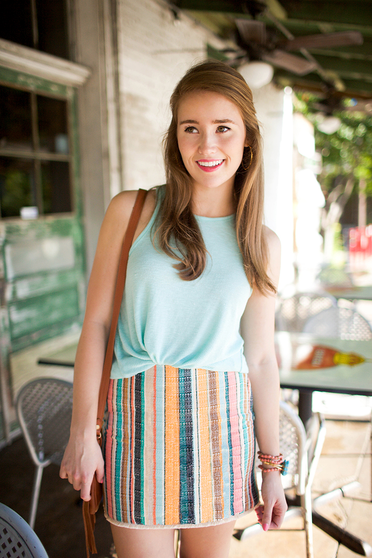 SKIRT Striped Mini Skirt