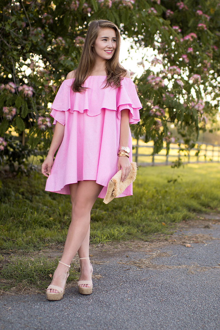 mlm maison off shoulder dress, off the shoulder dress, mlm maison dress pink gingham, pink dress, pink gingham dress, schutz shoes, straw clutch, souther nbelle, off the shoulder dress
