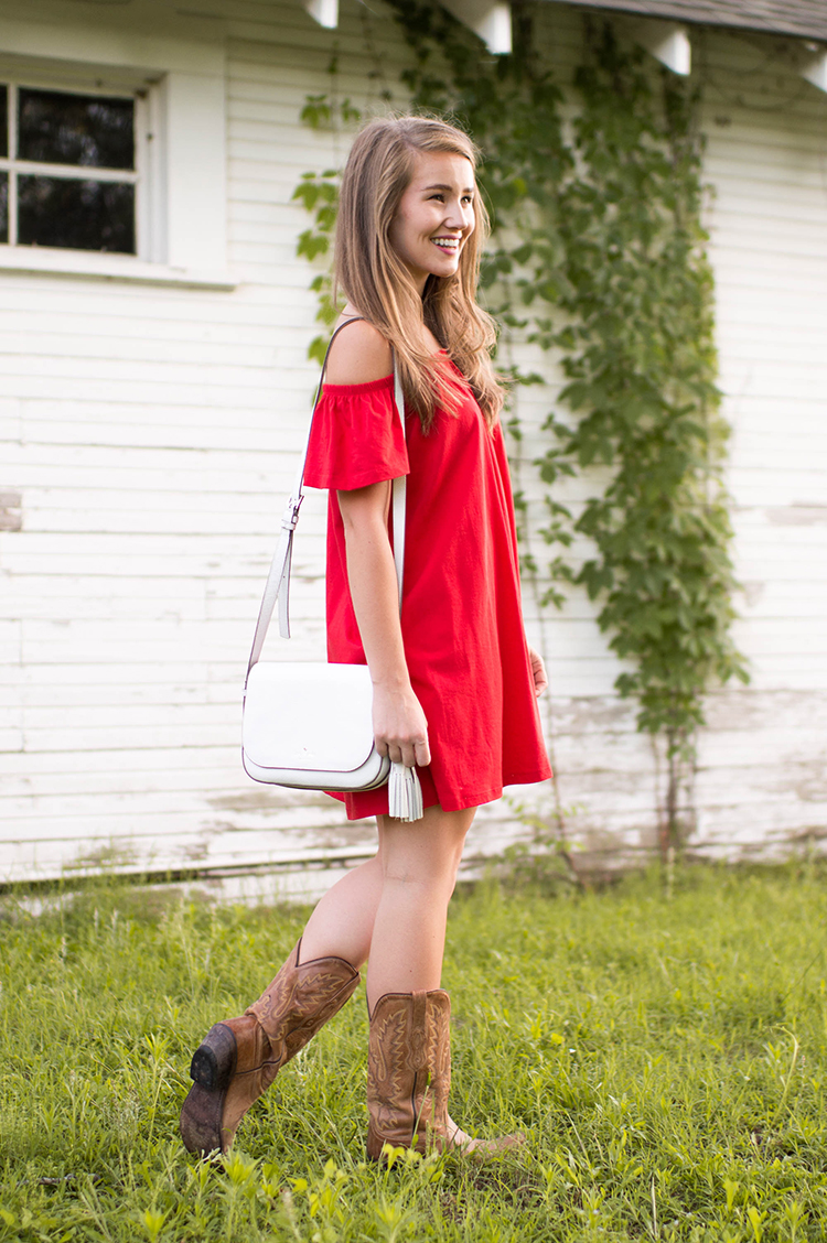 red off the shoulder sundress a lonestar state of southern