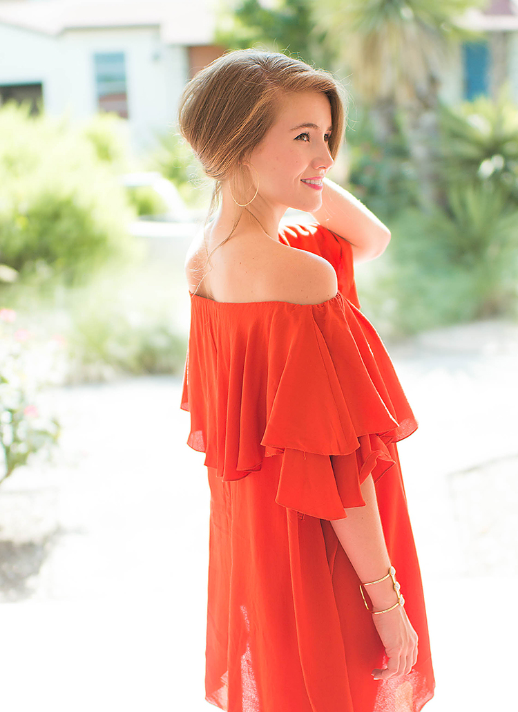 red mlm off the shoulder dress
