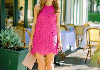 a scalloped pink dress