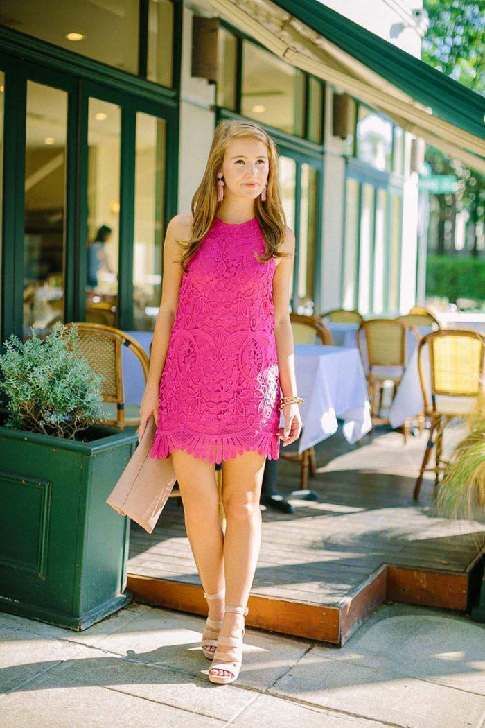 a scalloped pink dress