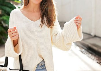 sweater + cut off jeans
