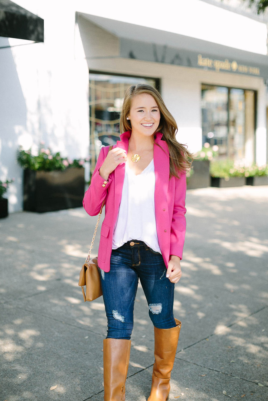pink blazer, block monogram necklace