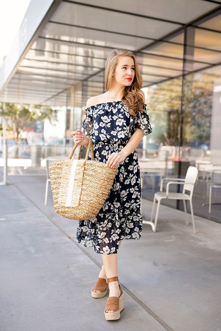 navy floral dress, moon river floral dress