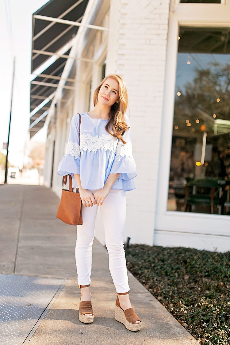 2520f680bc73 TOP blue and white bell sleeve top (just  23!)