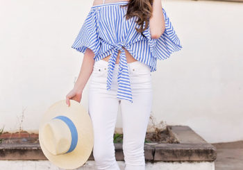 blue and white wrap top