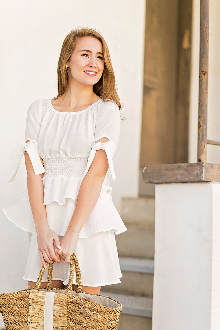 white flounce dress