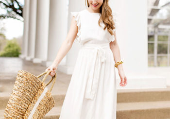 ruffled white maxi dress