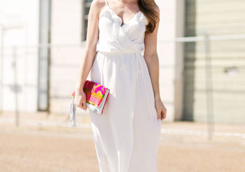 white ruffle maxi dress + LILLY PULITZER LAUNCH