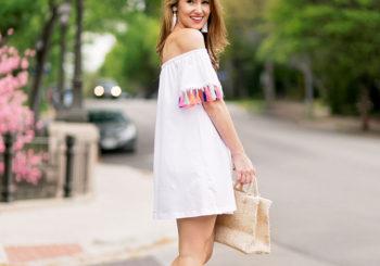 tassel off the shoulder dress