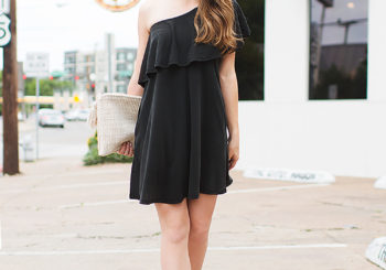 Black Ruffle Swing Dress