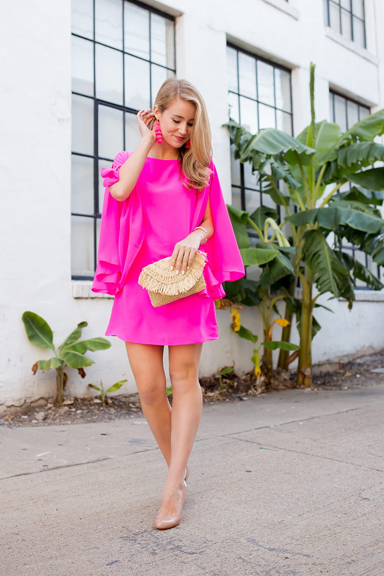 what to wear to summer weddings, neon pink dress, flutter sleeve dress, pink tassel earrings
