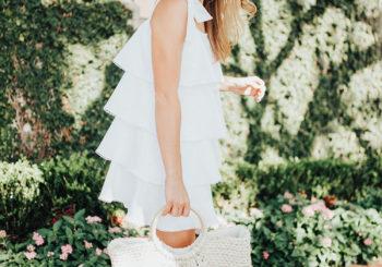 bow strap ruffle dress